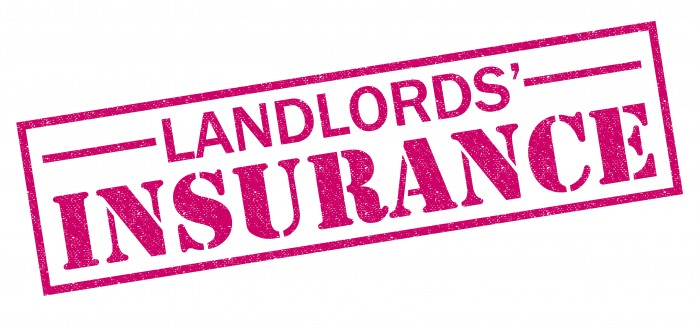 LANDLORDS' INSURANCE red Rubber Stamp over a white background.